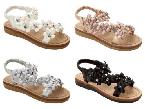 Womens Flower Gem Beaded Slip On Comfort Slingback Summer Sandals Ladies Size
