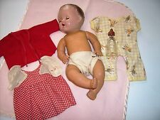"""1940's Sun Rubber baby doll  Molded head 11"""" doll antique vintage Patended"""