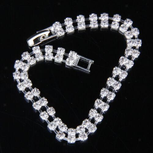 Fashion Women Wedding Bridal 2 Row Clear Crystal Rhinestone Bangle Bracelet