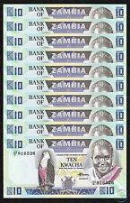 ZAMBIA 10 Kwacha X 10 PCS, 1/10 Bundle, 1980-88, P-26e, UNC
