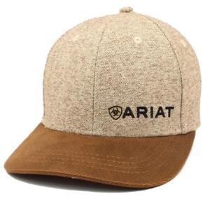 06ca98ca93b95 Ariat Mens Hat Baseball Cap Snap Back Tweed Oilskin Logo Brown ...
