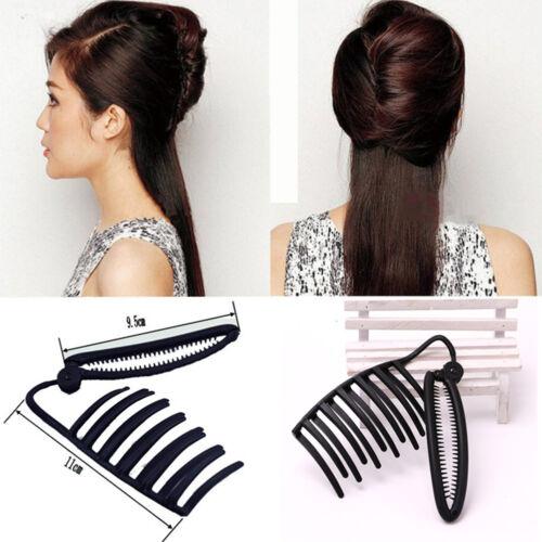1x Ladies DIY Hair Updo Bun Comb Clip Tool Set For HairTwist Maker Holder SE