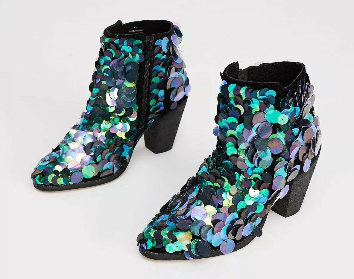 Free People Out Til Dawn Sequin Boots Size 37