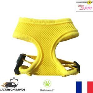 Harnais-Souple-Respirant-Jaune-pour-Chien-Chiot-Chat-Taille-XS-S-M-L-XL-Neuf-FR