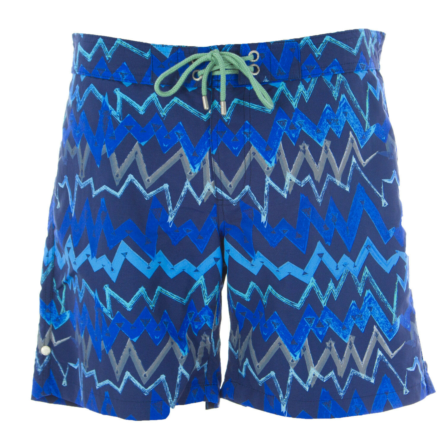 OLASUL Men's bluee 8  Chevron Print Swim Trunks NEW