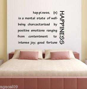 Dettagli su Felicità Muro Art Citazione Salotto Camera Da Letto Adesivo  Vinile Decalcomania Murale Stencil- mostra il titolo originale
