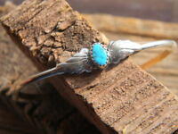 Sterling Silver Turquoise Nugget Ladies Bracelet 2 Side Wings 6 Long 1 Gap