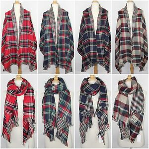 5cd6050bddaea Image is loading Plaid-and-Houndstooth-Double-Sided-Blanket-Scarf-Oversized-