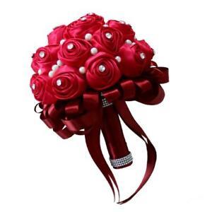 Bouquet Sposa Rose Rosse.Wedding Bridal Bouquet Wine Red Roses Bouquet Pea Ebay