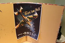"""ROYAL NEW ZEALAND AIR FORCE POSTER - WW2 - """"GIVE EM HELL"""" - R.N.Z.A.F. SPITFIRE"""