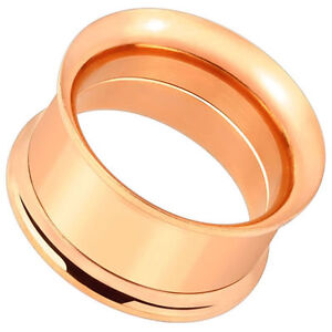Ear-Plugs-Tunnels-Pair-of-rose-Gold-Over-Surgical-Steel-Double-Flared-Screw