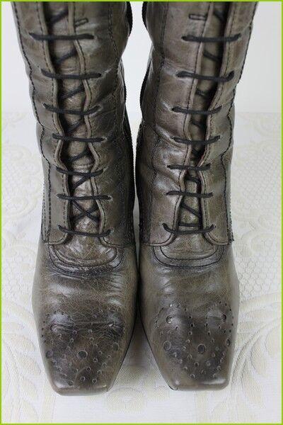 botas con encaje HISPANITAS Cuero gris pardo Matizado T BUEN 36 MUY BUEN T ESTADO c5f590