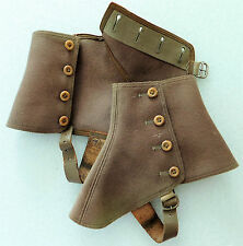 Brown wool felt spats gaiters shoe protector vintage 1920s 1930s outdoor clothes