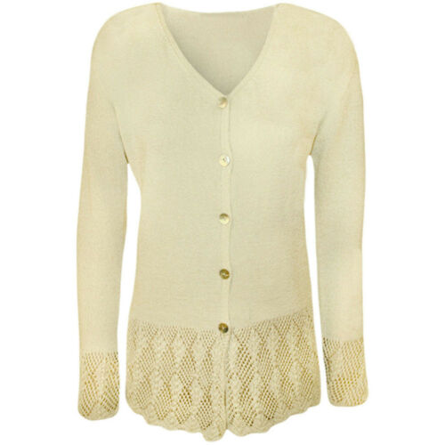 Ladies Womens Knitted Button Cardigan Long Sleeve Plus Size Crochet Top UK 14-24