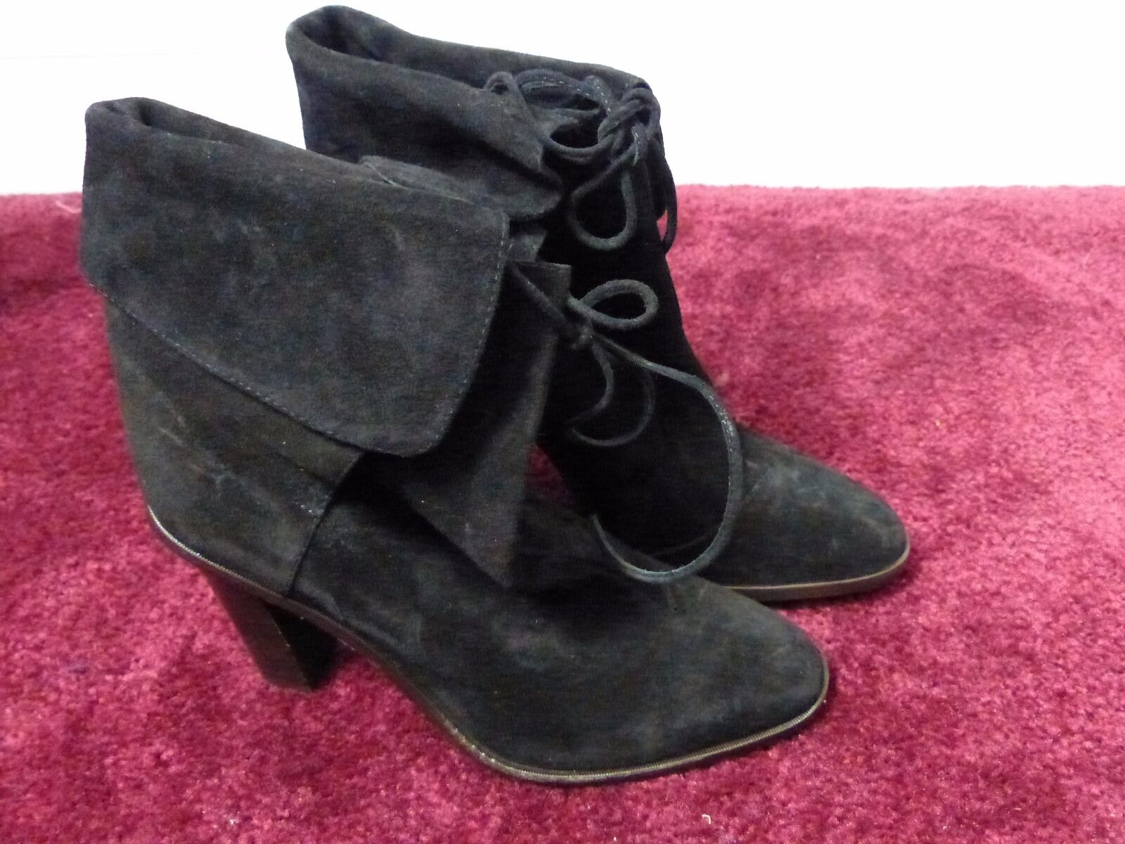 J.crew suede foldover lace up hurst boot size 7 black