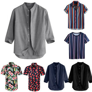 Men-039-s-Breathable-Striped-Summer-Short-Sleeve-Loose-Buttons-Casual-Shirt-Blouse