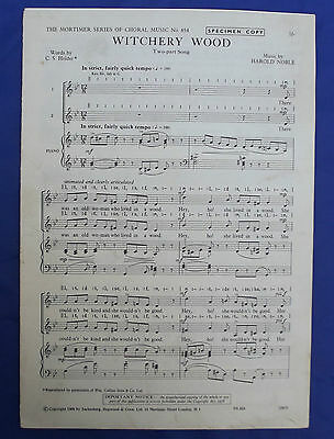 Sheet music WITCHERY WOOD Two-part song vintage 1960s choir choral HAROLD NOBLE