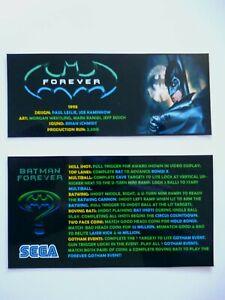 * * 'BATMAN FOREVER' Sega 1995 Custom Instruction/Apron Cards (New)