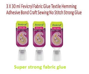 e9683390d94c 3 Fabric Glue Textile Hemming Adhesive Bond Craft Sewing No Stitch