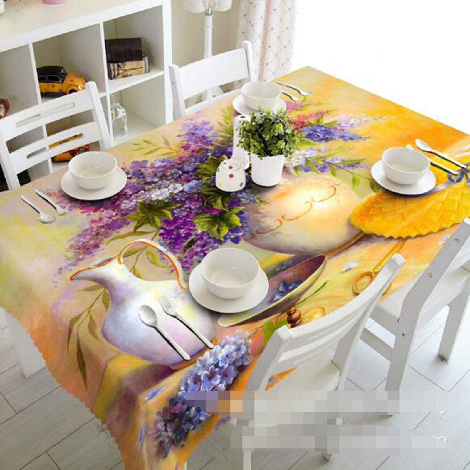 3D Vase Paint Tablecloth Table Cover Cloth Birthday Party AJ WALLPAPER UK Lemon