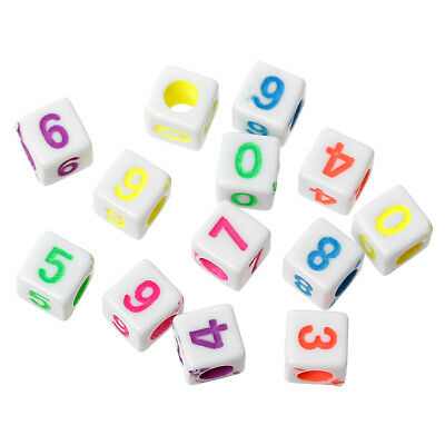 200 Acrylic Beads Square Random Number 6mm hole approx 2mm