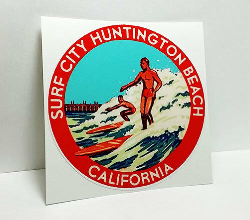 Surf City Huntington Beach California Vintage Style Travel Decal Vinyl Sticker Ebay