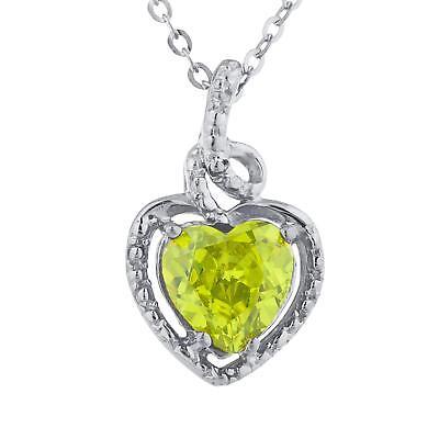 2 Ct Peridot /& Diamond Oval Heart Pendant .925 Sterling Silver