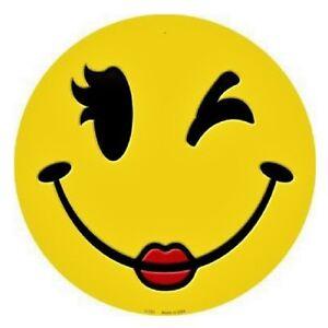 Indoor/Outdoor Wink Wink Smiley Face Emoji Metal Round ...