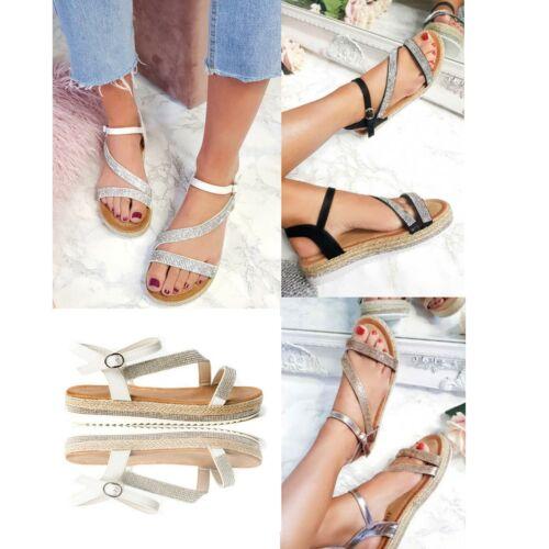 Details about  /Womens Ladies Flat Wedge Heel Espadrille Diamante Summer Sandals Shoes Size