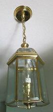 Vintage Goldtone Glass 6 Sided Lantern Ceiling Pendant Hanging Light Fixture