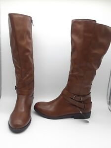 1e51fdb00a4 Style Co Madixe Women Shoes Riding Boots Cognac Wide Calf Sz 7 WIDE ...