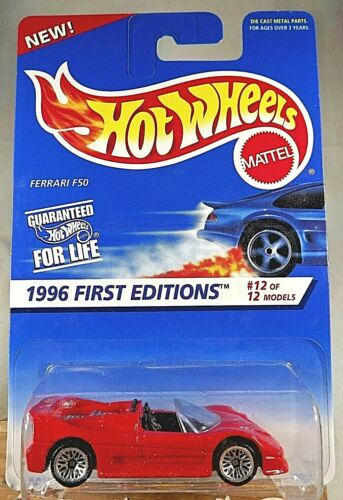 1996 Hot Wheels #377 First Editions 12//12 FERRARI F50 Red w//Chrome Lace Sp Malay