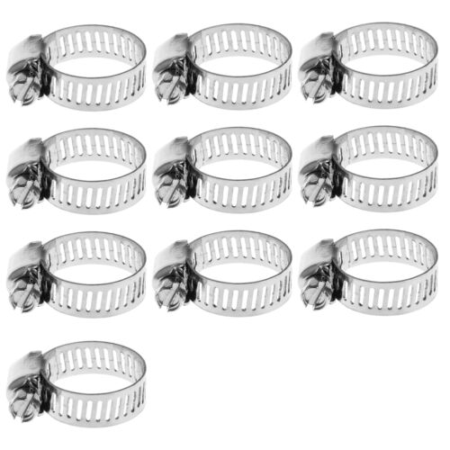 """10x Stainless Steel Adjustable Drive Hose Clamp Fuel Line Worm Clip 3//8-5//8/"""" New"""