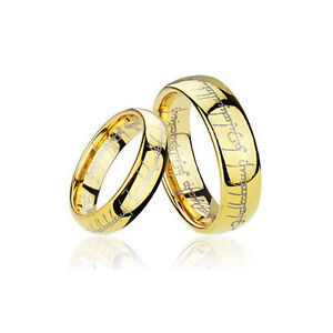 lord of the rings wedding band men s and women s gold plated tungsten lord of the rings 5596