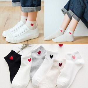 5 Pairs Women Casual Cotton Heart Pattern Sports Socks Low Cut soft Boat Socks