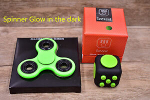 Fidget Cube+Glow Hand Spinner Anxiety Stress Relief Focus Desk EDC Toy ADHD Kids