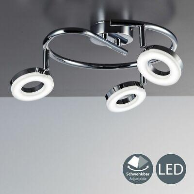 LED Deckenlampe Deckenleuchte modern Wohnzimmer chrom 3 Spot-Strahler schwenkbar