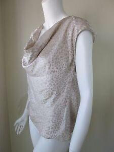 ANN-TAYLOR-Beige-Cowl-Neck-Sleeveless-Blouse-Top-Woman-Size-8