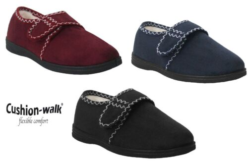 Womens Ladies Touch Fasten Warm Fleece Lined Winter Comfort Slippers Shoe UK 4-8