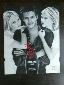 Vintage-1996-Drakkar-Noir-Cologne-Guy-LaRoche-Full-Page-Original-Color-Ad