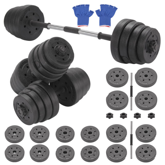 b130c72460e 30kg Barbell Dumbbell Set Bar Home Gym Fitness Free Weights Non-slip  Training