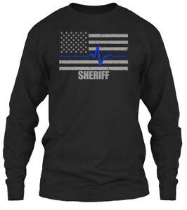 Thin-Blue-Line-Sheriff-Pulse-Gildan-Long-Sleeve-Tee-T-Shirt