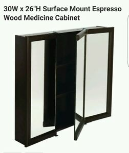 30w X 26 Quot Surface Mount Tri View Wood Mirrored Medicine