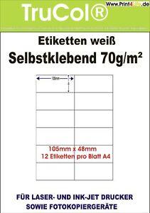 weiss matt 1200 Etiketten 105 x 48 mm kompatibel zu Avery Zweckform 3424