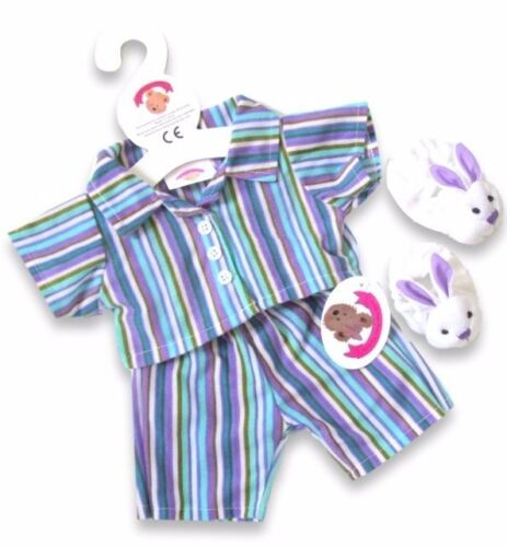 Teddy Bears Clothes fits Build a Bear Teddies Purple Stripe PJs Rabbit Slippers
