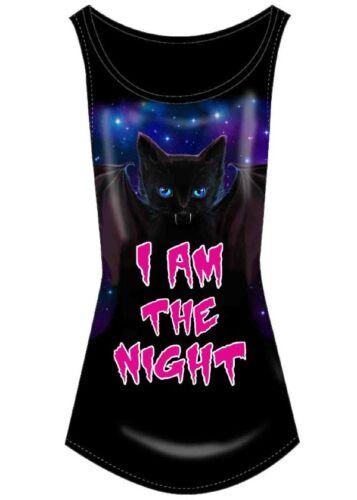 Flip Flop /& Fangs I Am The Night Cute Bat Wings Horror Cartoon Black Vest Top