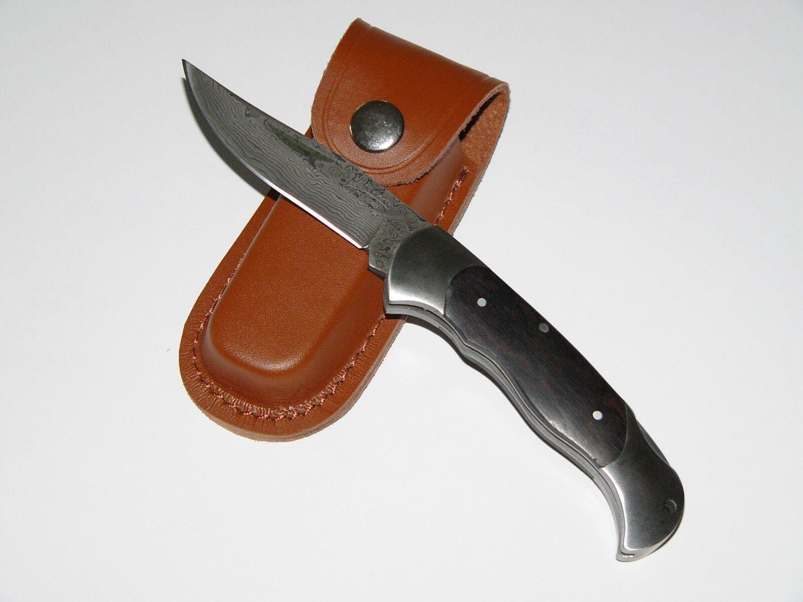 Damast Taschenmesser - Jagdmesser mit Ebenholzgriff - Neu