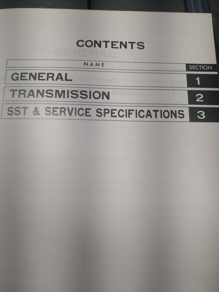 Reparationsbog, Toyota gearkasse K 50 Corolla