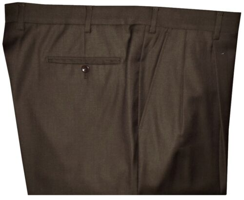 IMPERFECT INCOTEX ITALY BROWN 2 PLEATS DRESS PANTS