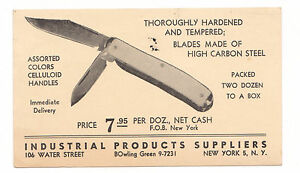 1946 POCKET KNIFE ADVERTISING CARD INDUSTRIAL SUPPLIERS NYC